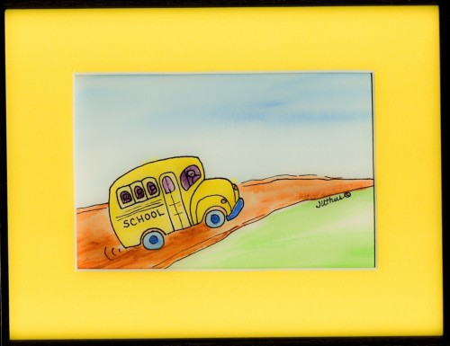 Yellow Bus on a Hill by Jackie Uthus