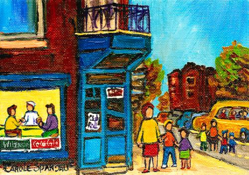 Wilenskys Counter with School Bus in Montreal by Carole Spandau