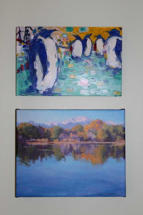 Penguins by Adam Swanson and Mountain Lake by Penny Stewart