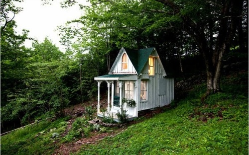 Sandra Foster was early in the craze re-doing this tiny hunters shack into a Victorian Fairy Tale house in the Catskills