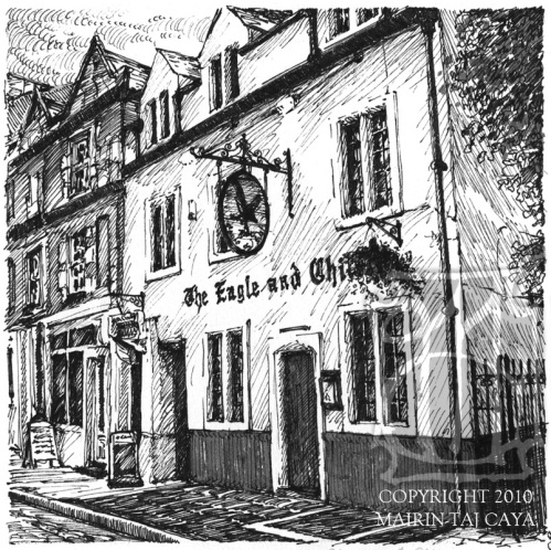 The Eagle and Child in Oxford, where the Inklings met for conversation . . .