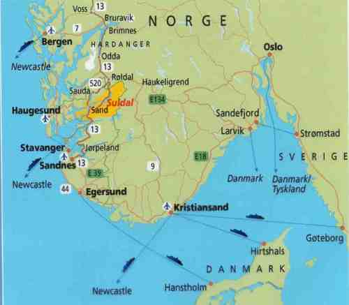 Sand is about 70 mi. from Stavanger and about 8 miles across the fjord to Aas farm.