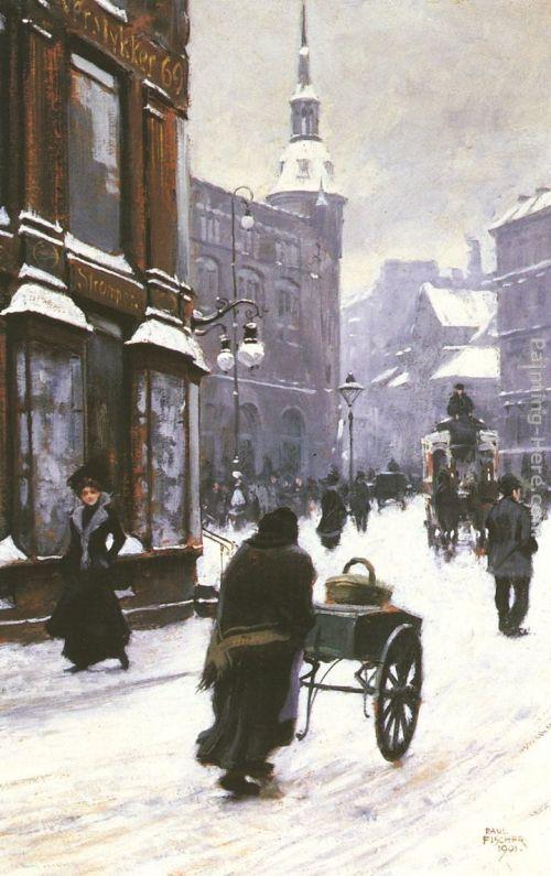 A Street Scene in Winter - Copenhagen by Paul Fischer, 1901