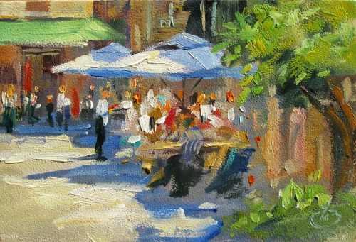 Cafe in the sun by Tom Brown