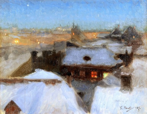 Winter Evening at Soder, Stockholm 1889 by Georg Pauli