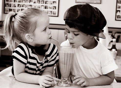 Little Kids Sharing a Shake - Black & White Picture - Little Girl - Little Boy with Hat