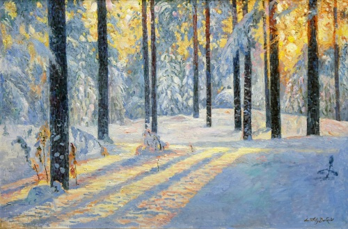 Sunrise in Winter Forest by Anatoly Dverin