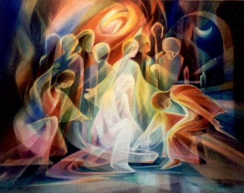 Jesus washing feet of disciples by Leszek Forczek