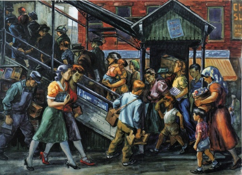 Going Home Near Bloomingdales and the 59th St. Elevated by Lionel Reiss, 1940's