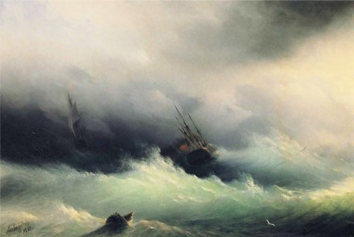 Ships in a Storm by Ivan Aivazovsky 1887