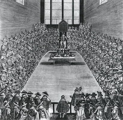 Engraving of Parliament in early 1600's, King James I