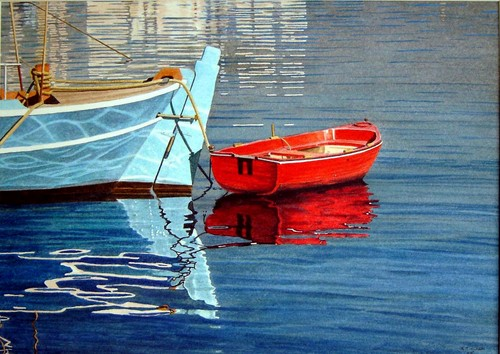 Red Boat (tethered) by R.J. Clark