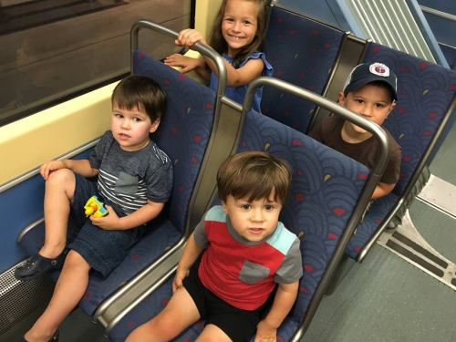 Rafe, Susie Axel and Gust on the train -