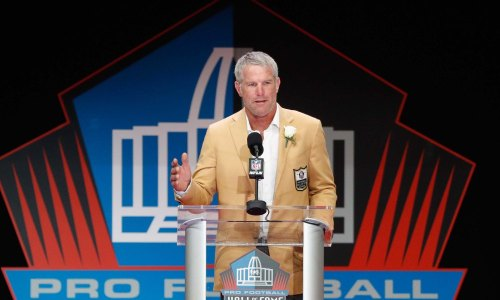 CANTON, OH - AUGUST 06: Brett Favre, former NFL quarterback, speaks during his 2016 Class Pro Football Hall of Fame induction speech during the NFL Hall of Fame Enshrinement Ceremony Stadium on August 6, 2016 in Canton, Ohio. (Photo by Joe Robbins/Getty Images) ORG XMIT: 659051701 ORIG FILE ID: 586857092
